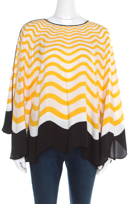 Fendi Yellow and Off White Wave Printed Silk Contrast Bow Trim Detail Kaftan Top M