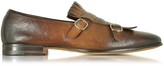 Santoni Shaded Brown Leather Monk Strap Shoes w/Fringes