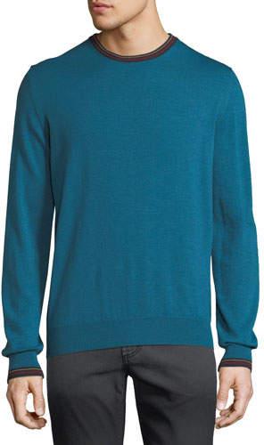 Etro Men's Collegiate Crewneck Wool Sweater
