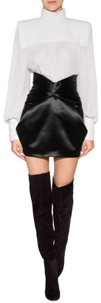 Balmain Wool-Silk Skirt in Black