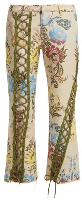 Marques Almeida Lace-up Floral-jacquard Trousers - Cream Multi