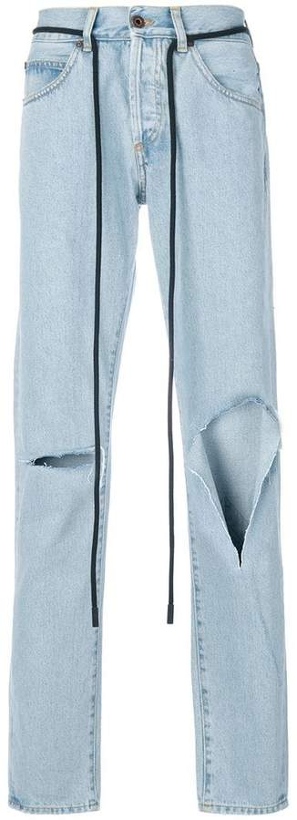 Off-White Diag raw cut jeans
