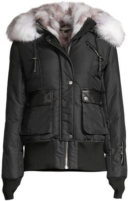 Nicole Benisti Mayfair Fur Trimmed Bomber Jacket