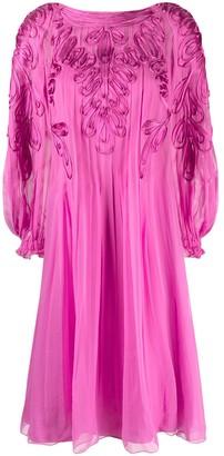 Alberta Ferretti Ribbon-Applique Silk Dress
