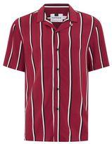 Topman Burgundy Stripe Revere Shirt