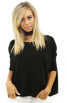 Minnie Rose New Cropped Crew Sweater in Black