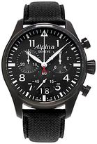 Alpina Al-372b4fbs6 Aviation Startimer Pilot Chronograph Big Date Fabric Strap Watch, Black
