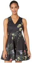 Ted Baker Wrapel Highland V-Neck Skater Dress (Black) Women's Clothing