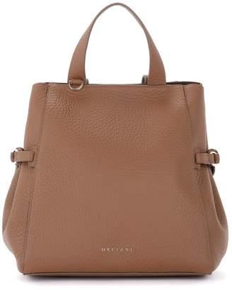 Orciani Shoulder Bag In Caramel-colored Hammered Leather