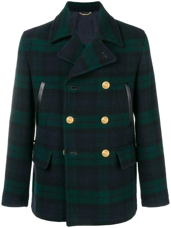 Versace tartan double-breasted coat