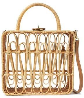 Kayu Safia Leather-trimmed Rattan Shoulder Bag
