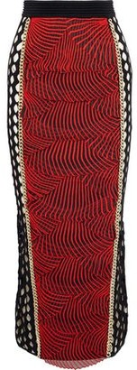 Balmain Chain-trimmed Embroidered Mesh And Laser-cut Ponte Midi Pencil Skirt