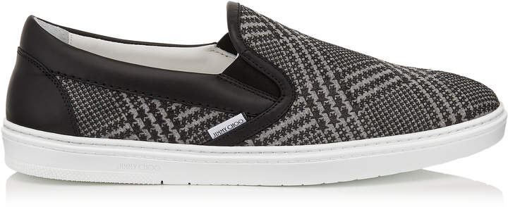Jimmy Choo GROVE Mink and Black Prince of Stars Flannel Slip on Trainers