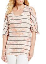 Bobeau Tie-Sleeve Stripe Print Cold-Shoulder Top