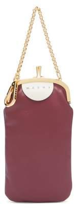 Marni Bi Colour Leather Clutch - Womens - Burgundy Multi