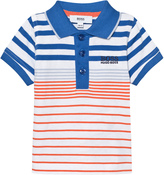 BOSS Blue and Orange Stripe Jersey Polo