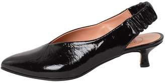 Manu Mari Black Patent-Leather Slingbacks