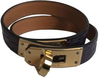 Hermes Kelly Double Tour Purple Alligator Bracelets
