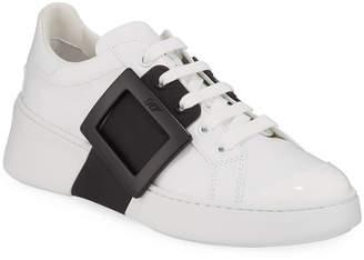 Roger Vivier Viv' Skate Two-Tone Buckle Sneakers