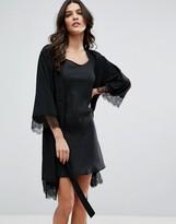 MANGO Lace Trim Robe