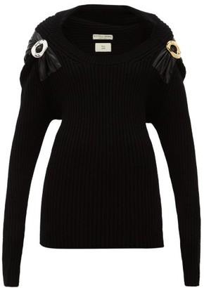 Bottega Veneta Embellished Ribbed Wool-blend Sweater - Black