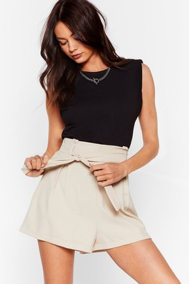 Nasty Gal Womens The Belt of Me High-Waisted Shorts - Stone