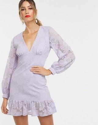 Asos Design DESIGN lace mini dress with ruffle pep hem