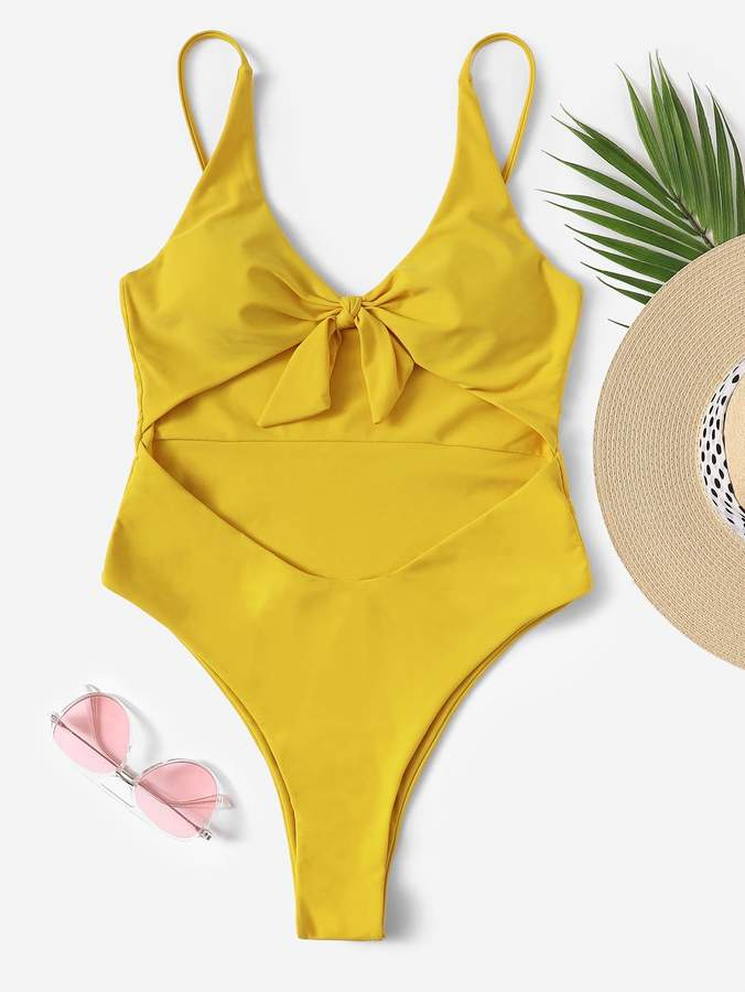 6a01f1c34a8 Knot Front Swimsuit Yellow - ShopStyle