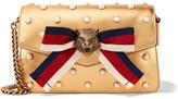 Gucci Broadway Embellished Metallic Leather Shoulder Bag - Gold