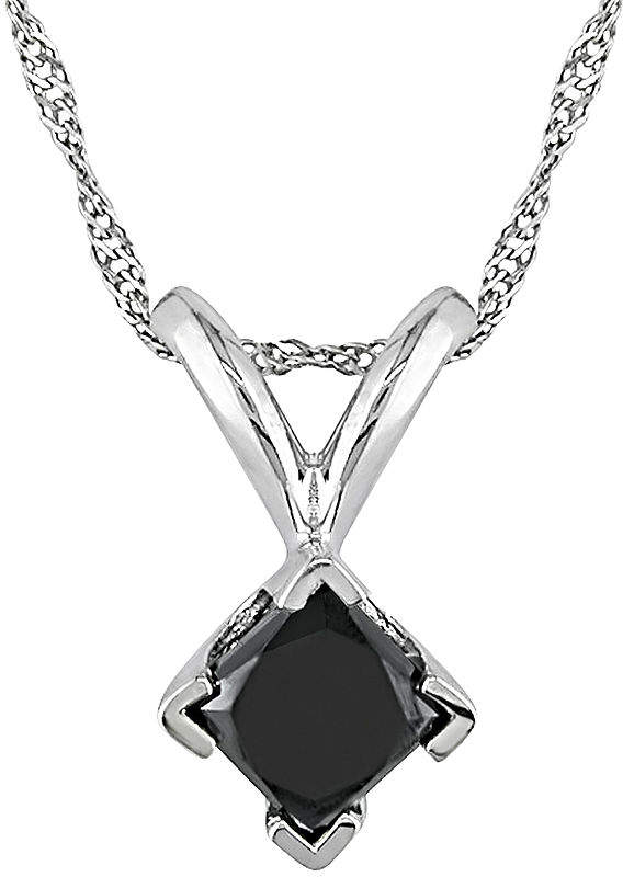 Black Diamond FINE JEWELRY 1/2 CT. T.W. Princess-Cut Color-Treated Pendant Necklace