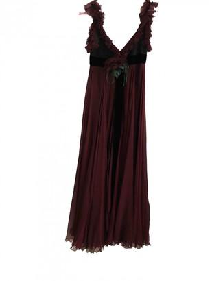 Elie Saab Burgundy Silk Dress for Women Vintage