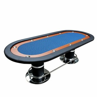 """96"""" Professional Solid Double Base Poker Table IDS Online Corp Color: Blue"""