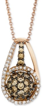 "LeVian Le Vian Chocolatier Diamond Halo Cluster 18"" Pendant Necklace (3/4 ct. t.w.) in 14k Rose Gold"