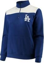 Majestic Women's Royal Los Angeles Dodgers Plus Size Sequin Wordmark Quarter-Zip Pullover Jacket