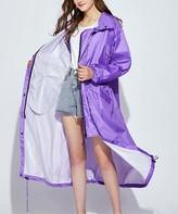 Kance Women's Rain Coats purple - Purple Hooded Swing Raincoat - Women & Juniors