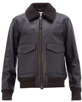 Acne Studios Lazlo Shearling-collar Leather Jacket - Mens - Navy