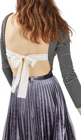 Topshop Women's Bow Back Stripe Bodysuit