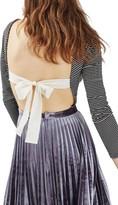 Topshop Women's Bow Back Stripe Bodysuit