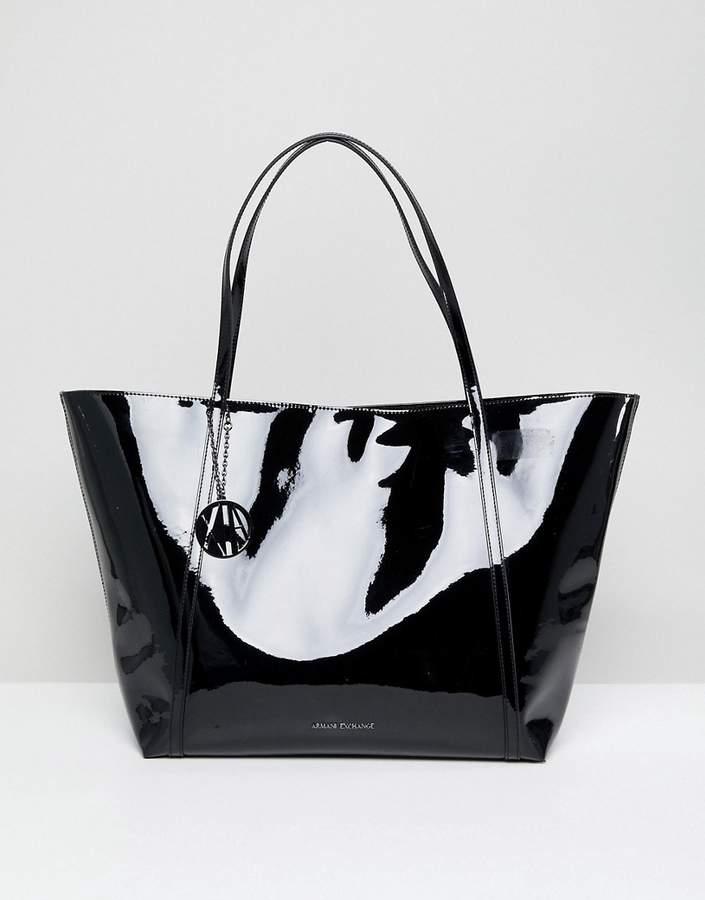Armani Exchange Black Patent Tote Bag