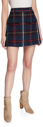 Veronica Beard Lucy Check Mini Skirt