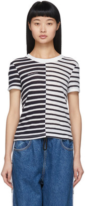 Alexander Wang Navy and White Striped Slub Shrunken T-Shirt