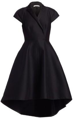 Halston Tuxedo Silk Faille Fit-&-Flare Dress
