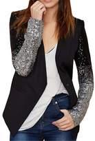 Tailloday Women's Casual Long Sleeve Sequins Suits Blazer Jakcet XL
