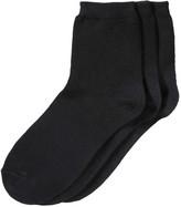 Joe Fresh Women's 3 Pack Quarter Height Socks, Black (Size 9-11)