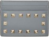 Valentino Grey Leather Rockstud Card Holder
