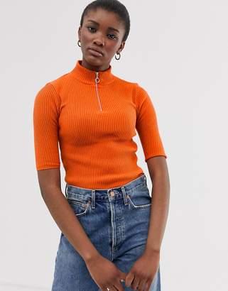 Asos Design DESIGN short sleeve rib knit jumper with zip detail-Orange