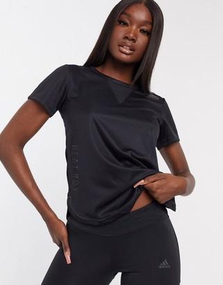 adidas training 3-stripe H.RDY t-shirts in black