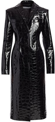 Alexander Wang Snakeskin-Embossed Leather Long Coat
