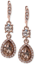 Givenchy Rose Gold-Tone Crystal Teardrop Double Drop Earrings