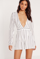 Missguided Tall Exclusive Stripe Plunge Romper White
